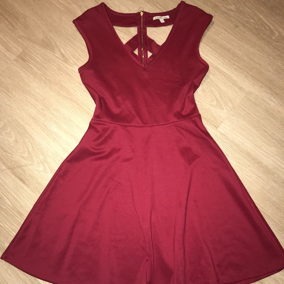 e76029176697 Charlotte Russe Dresses & Skirts - Maroon/red dress with lattice back and  gold zipper